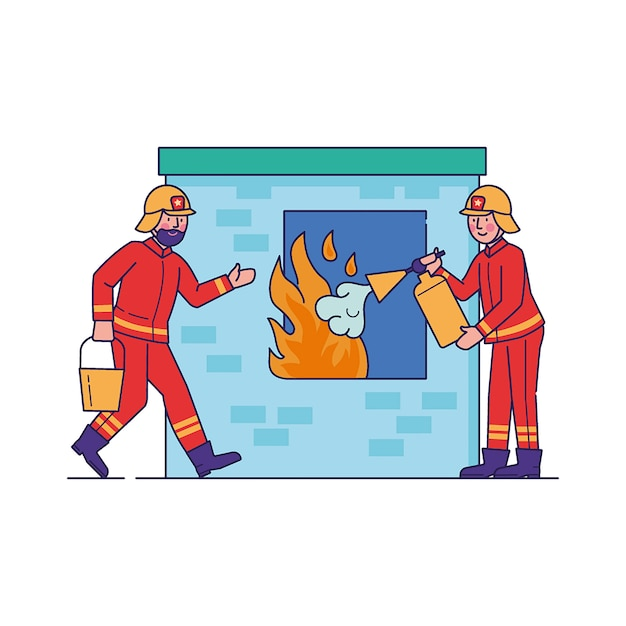 Strażacy Gaszą Płomień Przez Okno Darmowych Wektorów