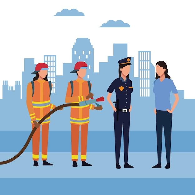 Strażacy W Mieście Premium Wektorów