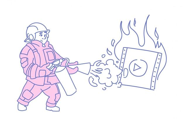 Strażak gaszący płonący odtwarzacz wideo media online streaming filmu film Premium Wektorów