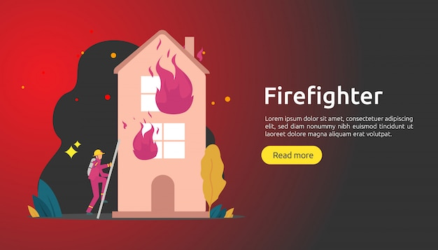 Strażak W Mundurze Za Pomocą Sprayu Wody Z Węża Do Gaszenia Pożaru Domu Płonącego Premium Wektorów