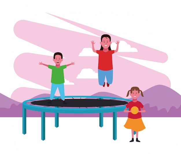 Strefa Dla Dzieci, Chłopiec I Dziewczynka Skacząca Trampolina Oraz Dziewczyna Z Boiskiem Do Jedzenia Premium Wektorów