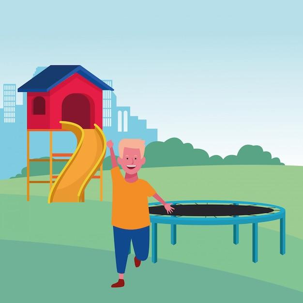 Strefa Dla Dzieci, Słodki Chłopiec Z Trampoliną I Zjeżdżalnią Premium Wektorów