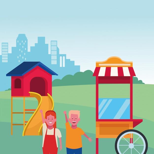 Strefa Dla Dzieci, Stoisko Z Jedzeniem Dla Chłopca I Dziewczynki Zjeżdżalnia Plac Zabaw W Parku Miejskim Premium Wektorów