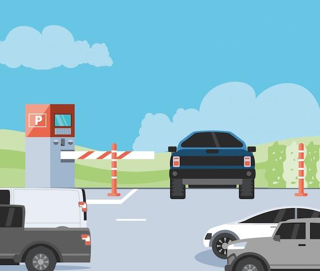 Strefa parkowania z automatem biletowym i sceną barykady Premium Wektorów