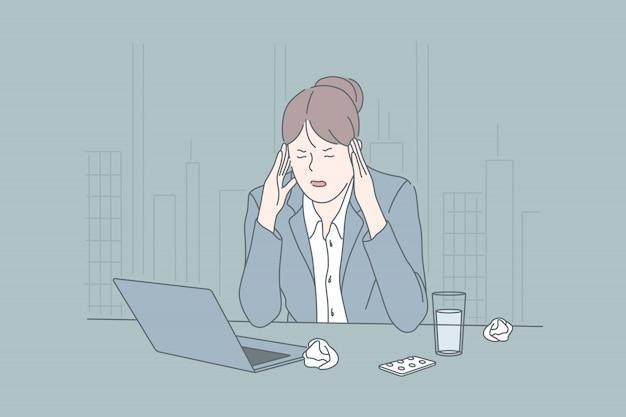 Stres, Biznes, Stan Psychiczny, Burza Mózgów, Koncepcja Migreny Premium Wektorów