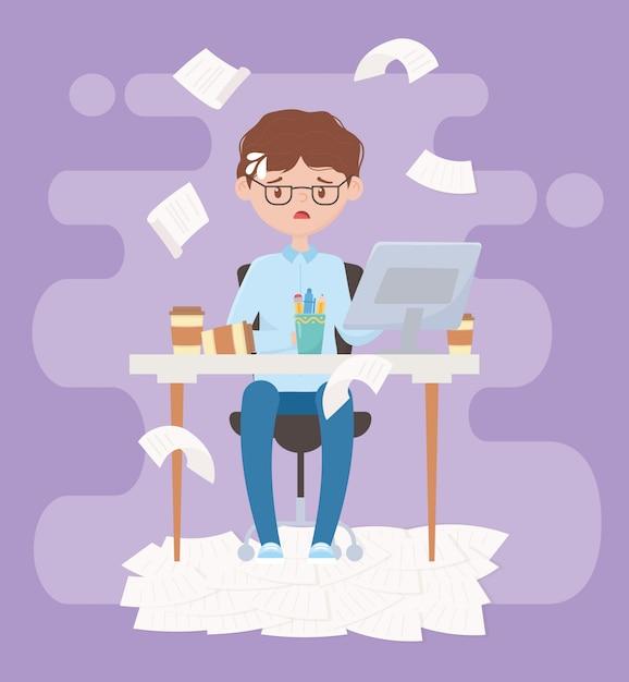 Stres W Pracy, Wyczerpany Biznesmen Siedzi W Biurze Premium Wektorów