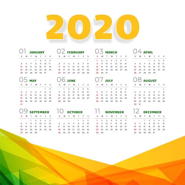 Streszczenie 2020 kalendarz w geometrycznym stylu Darmowych Wektorów