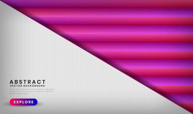 Streszczenie 3d Białe Tło Nakładają Się Warstwy Z Kolorowymi Gradientowymi Kształtami Geometrycznymi Z Mieszaniem Różowego I Fioletowego Koloru Premium Wektorów