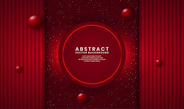 Streszczenie 3d Czerwone Koło Luksusowe Tło Nakładają Się Warstwy Na Ciemnej Przestrzeni Z Kropkami Brokatu I Drewna Teksturowanego Kształtu Premium Wektorów