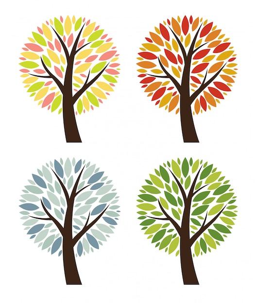 Streszczenie 4 Pory Roku Wektor Zbiory Drzew Zestaw Ilustracji Premium Wektorów