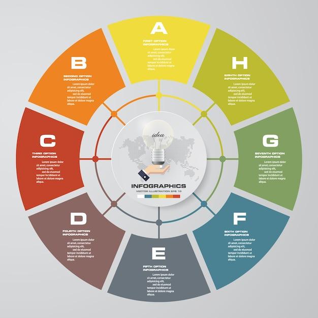 Streszczenie 8 Kroków Cyklu Infografiki Elementy Wykresu. Premium Wektorów