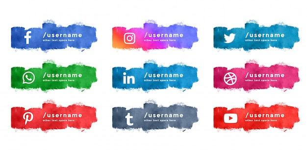 Streszczenie Akwarela Mediów Społecznościowych Dolnej Trzeciej Kolekcji Darmowych Wektorów