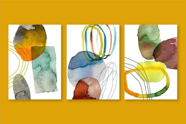 Streszczenie Akwarela Obejmuje Kolekcję O Różnych Kształtach Darmowych Wektorów