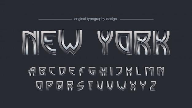 Streszczenie art deco chrome typografia Premium Wektorów