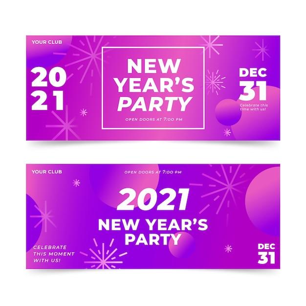 Streszczenie Banery Partii Nowego Roku 2021 Darmowych Wektorów
