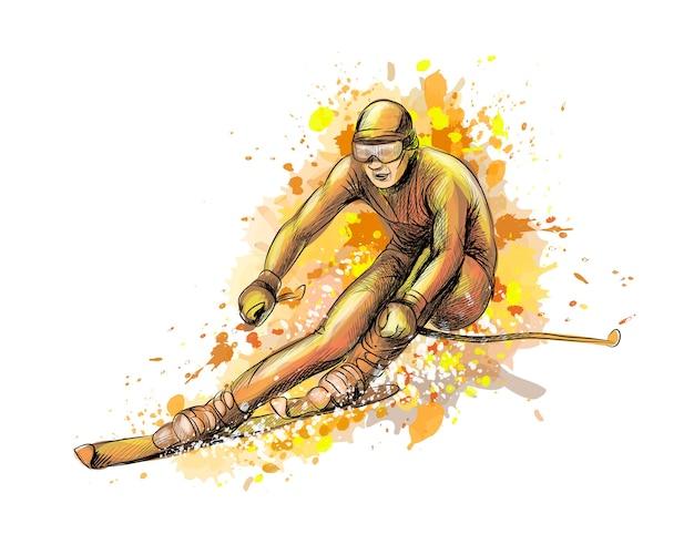 Streszczenie Biathlonista Z Odrobiną Akwareli, Ręcznie Rysowane Szkic. Ilustracja Farb Premium Wektorów