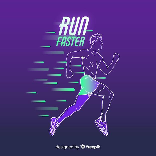 Streszczenie biegacz sylwetka płaski kształt Darmowych Wektorów