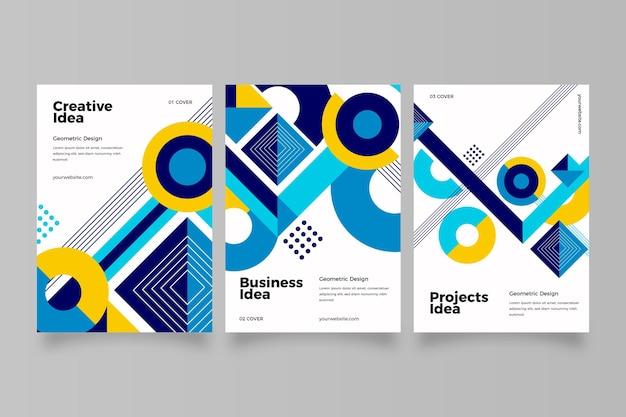 Streszczenie Biznesowa Kolekcja Okładek Z Geometrycznymi Kształtami Darmowych Wektorów