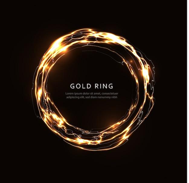 Streszczenie Błyskawica Ze Złotym Połyskiem, świecący Dysk Fantasy, Złoty Magiczny Krąg, Kula Energii, Okrągły Szablon Obracającej Się Ramki Na Ulotki, Baner I Plakat, Na Białym Tle Ilustracja Graficzna Premium Wektorów