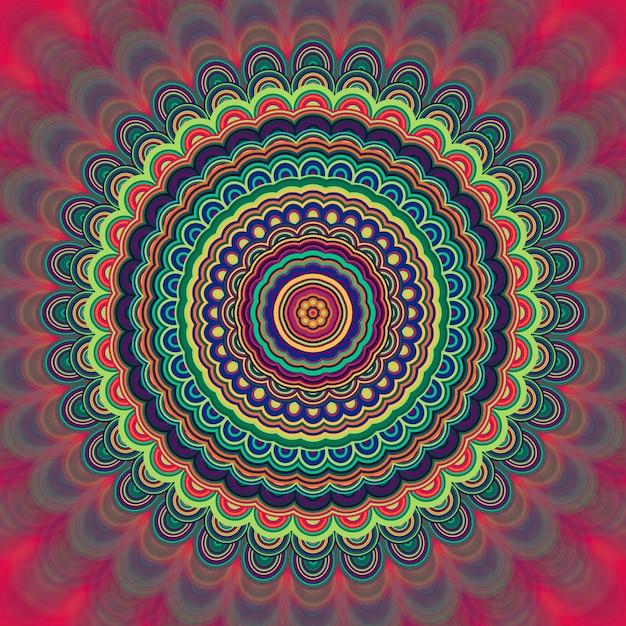 Streszczenie Bohemian Mandala Ornament Tle - Okólnik Kalejdoskop Wektora Wzór Graficzny Z Koncentrycznych Elips Premium Wektorów