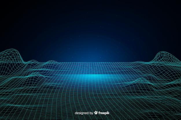 Streszczenie cyfrowych cząstek fale tło Darmowych Wektorów