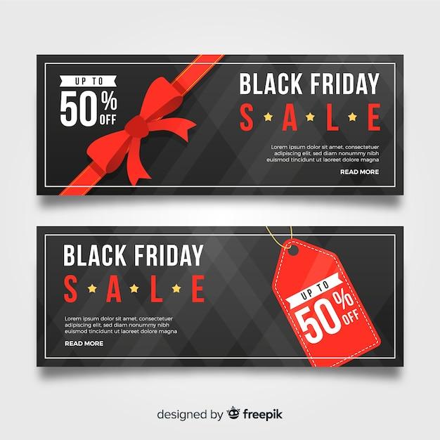 Streszczenie czarny piątek transparent sprzedaż w kolorze czarnym i czerwonym Darmowych Wektorów