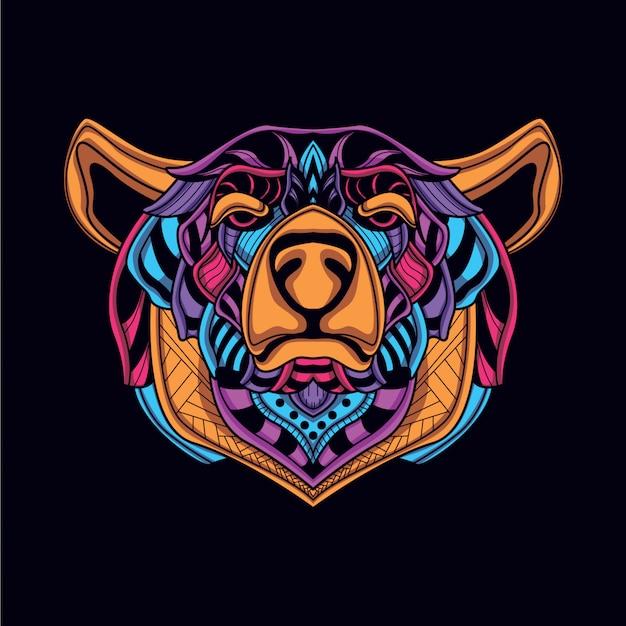 Streszczenie dekoracyjny niedźwiedź w blasku neon kolor Premium Wektorów