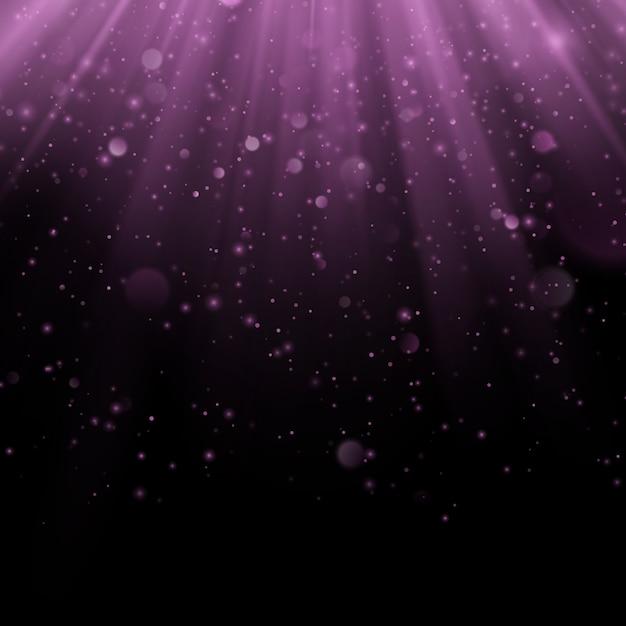 Streszczenie Efekt Nakładki Fioletowy. Połyskujący Przedmiot Z Promienia Tłem. świecące światło Spada I Rozbłysk światła. Scena Reflektorów. Premium Wektorów