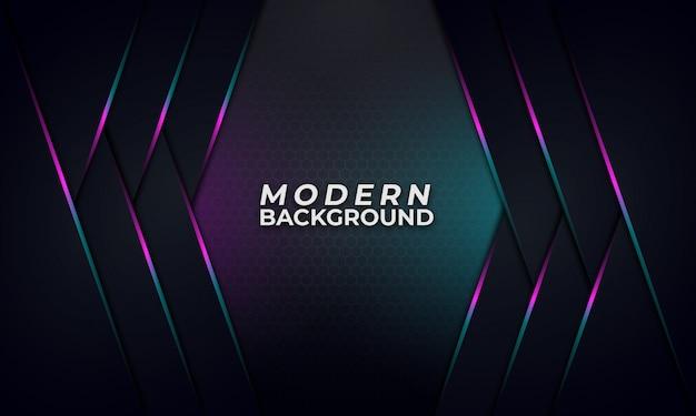 Streszczenie fioletowe i niebieskie linie gradientu na ciemnym tle Premium Wektorów