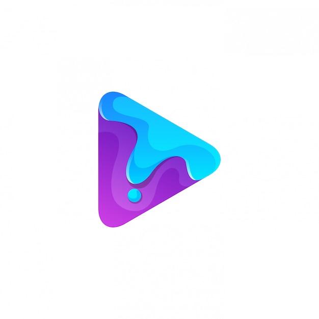 Streszczenie Fioletowy Przycisk Odtwórz Z Roztopionym Logo Premium Wektorów