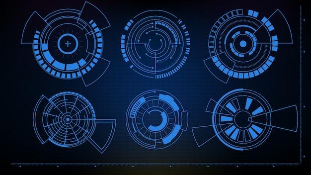 Streszczenie Futurystycznym Tle Interfejsu Sci Fi Interfejsu Circle Hud Ui Kolekcji Premium Wektorów