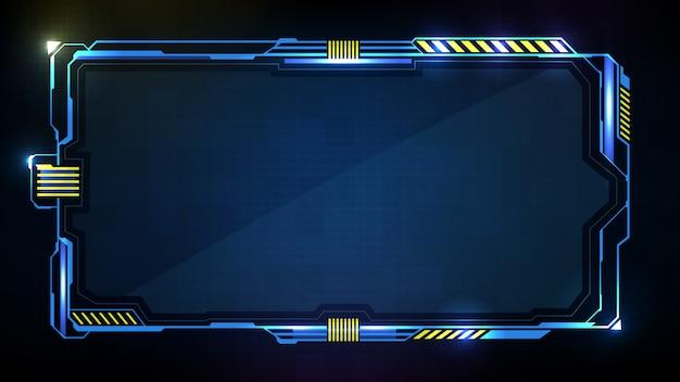 Streszczenie Futurystycznym Tle Niebieskiej świecącej Technologii Sci Fi Ramki Hud Ui Premium Wektorów