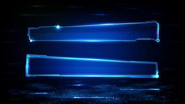 Streszczenie Futurystycznym Tle Niebieskiej świecącej Technologii Science-fiction Ramki Hud Ui Dolny Trzeci Dolny Pasek Premium Wektorów