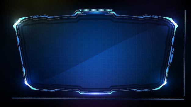 Streszczenie Futurystycznym Tle. Niebiesko świecąca Ramka Science-fiction W Technologii Hud Ui Premium Wektorów
