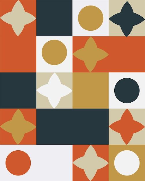 Streszczenie Geometryczne Mural Kolorowe Tło W Stylu Bauhaus Premium Wektorów