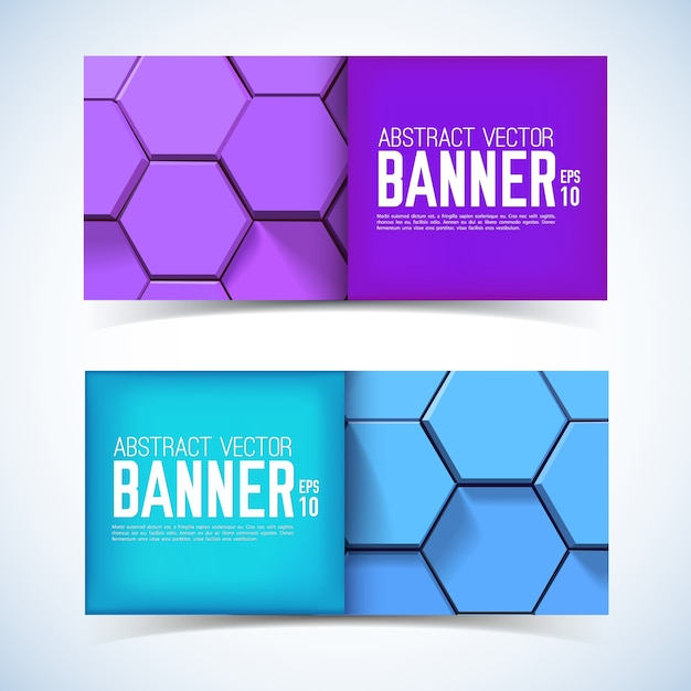 Streszczenie Geometryczne Poziome Bannery Z Fioletowymi I Niebieskimi Sześciokątami 3d W Stylu Mozaiki Na Białym Tle Darmowych Wektorów