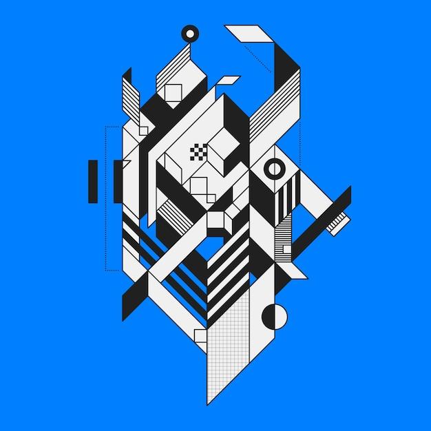 Streszczenie Geometryczny Element Na Niebieskim Tle. Styl Futuryzmu I Konstruktywizmu. Użyteczne Jako Wydruki Lub Plakaty. Premium Wektorów