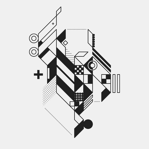 Streszczenie Geometryczny Element W Futurystycznym Stylu Wyizolowanych Na Bia? Ym Tle. Przydatne Do Drukowania I Plakatów. Premium Wektorów