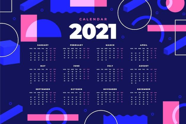Streszczenie Geometryczny Nowy Rok 2021 Kalendarz Darmowych Wektorów