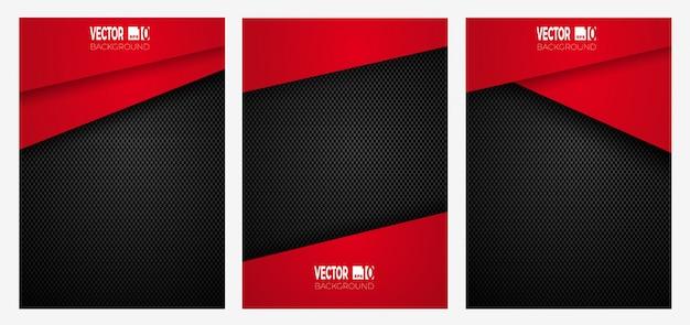 Streszczenie Geometrycznych Pasków Na Okładce Z Włókna Węglowego, Czerwony Kolor Na Ciemnej Fakturze Premium Wektorów