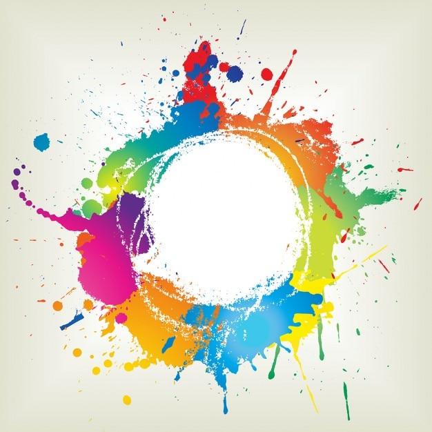 Streszczenie grunge z ikonami farb Darmowych Wektorów