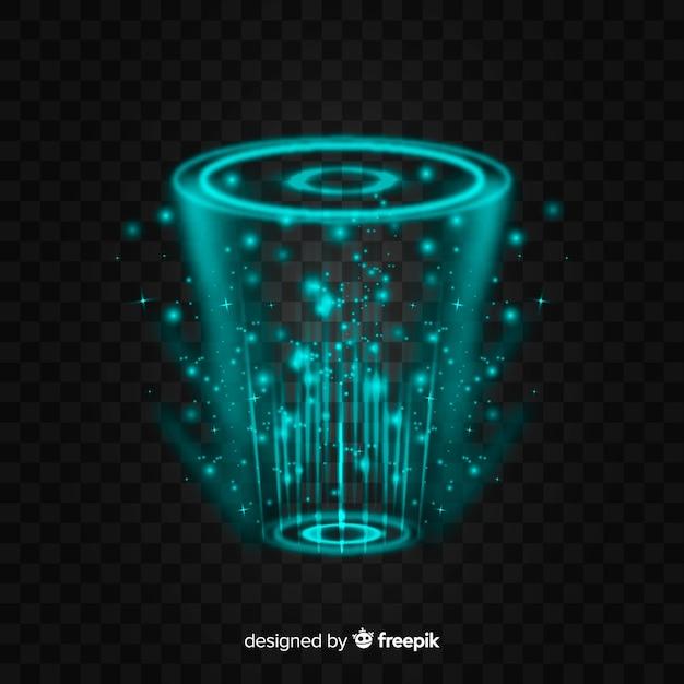 Streszczenie Hologram Portalu Na Ciemnym Tle Premium Wektorów