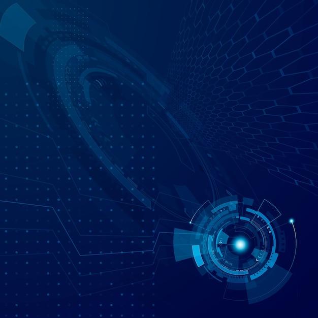Streszczenie Hud Technologia Przyszłości. Koncepcja Rozwoju Technologii Futurystycznej Cyberprzestrzeni. System Interfejsu Science Fiction. Ilustracja Cyfrowe Niebieskie Tło Premium Wektorów