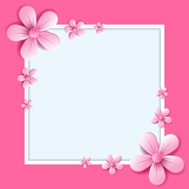 Streszczenie Ilustracji Wektorowych. Kwiat Kwitnie Na Jasnym Różowym Kolorze Premium Wektorów