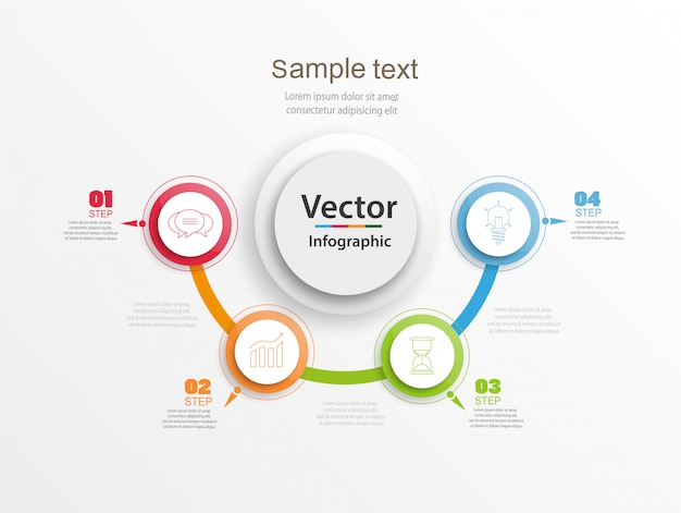 Streszczenie Infografiki Numer Opcji Szablon Z Kolorowe Koła I 5 Kroków Premium Wektorów