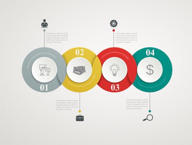 Streszczenie koła części infographic ze strukturą krok po kroku. schematy szablonów, prezentacja i wykres Premium Wektorów