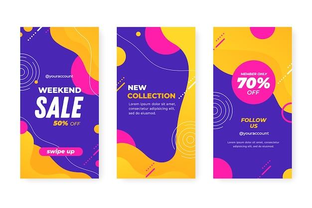 Streszczenie Kolorowe Historie Sprzedaży Instagram Darmowych Wektorów