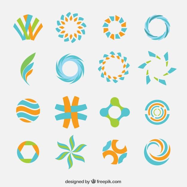 Streszczenie kolorowe logo kolekcji Darmowych Wektorów