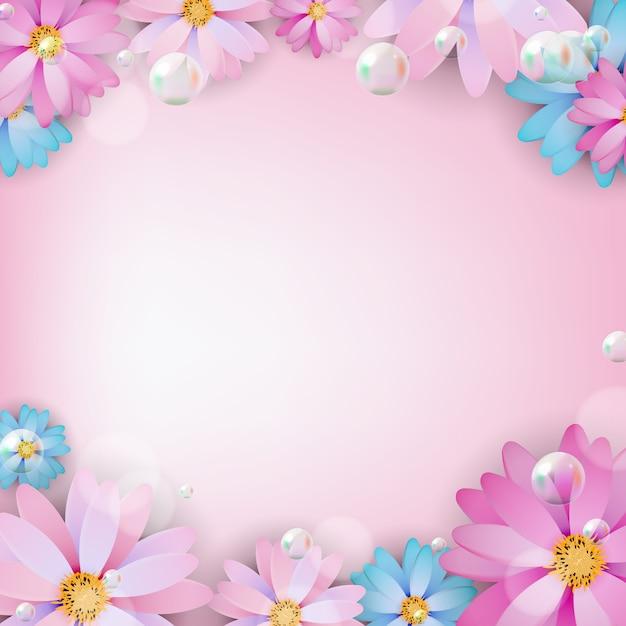 Streszczenie Kolorowe Tło Naturalny Kwiat. Ilustracja Premium Wektorów