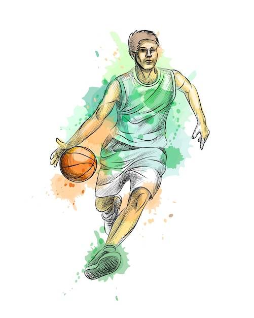 Streszczenie Koszykarz Z Piłką Z Odrobiną Akwarela, Ręcznie Rysowane Szkic. Ilustracja Farb Premium Wektorów
